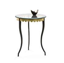 Table d'appoint / classique / en verre / en fer