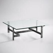 Table basse classique / en verre / en métal peint / en fer forgé