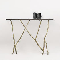 Table console / design organique / en verre / en bronze