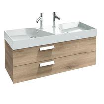 Meuble vasque double / suspendu / en bois / contemporain