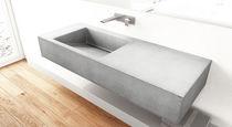 Vasque suspendue / rectangulaire / en béton / contemporaine