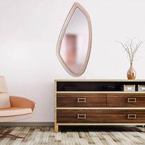 Miroir mural / contemporain / en cuir