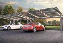 Abri de voiture en acier / professionnel / avec panneaux photovoltaïques intégrés