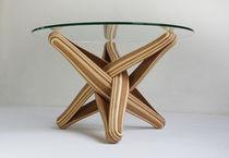 Table basse design original / en bambou / en verre trempé / ronde
