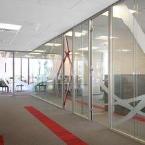 Cloison amovible / en aluminium / vitrée / à double vitrage