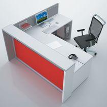 Banque d'accueil d'angle / en bois / en aluminium anodisé / en PMMA