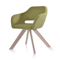 Chaise visiteur contemporaine / en tissu / en acier / en hêtre