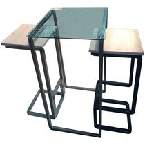 Ensemble table et chaises contemporain / en bois / en métal / en verre