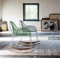 Chaise contemporaine / en cuir / en acier / à bascule