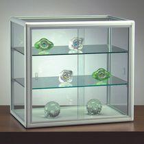 Vitrine contemporaine / sur pied / en verre / en aluminium