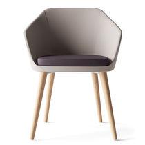Chaise visiteur contemporaine / avec accoudoirs / tapissée / en chêne