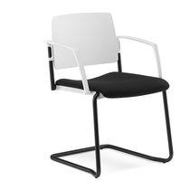 Chaise de conférence tapissée / avec accoudoirs / à tablette / cantilever
