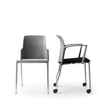 Chaise de conférence tapissée / avec accoudoirs / empilable / à roulettes