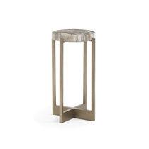 Table d'appoint contemporaine / en métal / en bois fossilisé / ronde