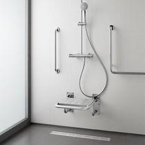 Siège de douche rabattable / en inox / mural