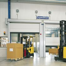 Porte industrielle enroulable / en tissu / résistante au vent / automatique