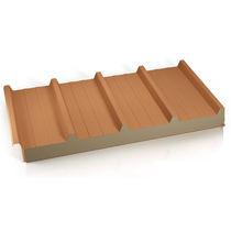 Panneau sandwich pour toiture / 2 faces métalliques / âme en laine minérale