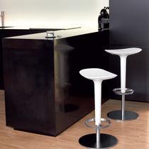 Tabouret de bar contemporain / en cuir / en acier inoxydable / en textile
