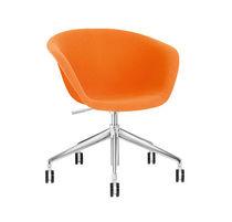 Chaise de bureau contemporaine / tapissée / piètement étoile / en cuir