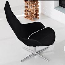 Fauteuil contemporain / en cuir / en aluminium / pivotant