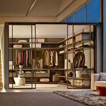 Porte intérieure / pour dressing / coulissante / en verre