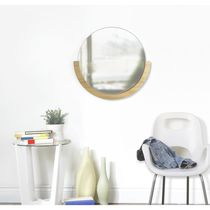 Miroir mural / contemporain / rond / en bois
