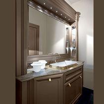 Meuble vasque à poser / en bois / classique / avec miroir