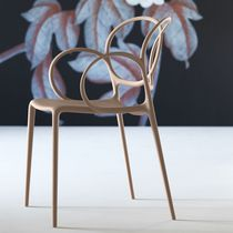 Chaise de salle à manger contemporaine / avec accoudoirs / empilable / en polypropylène