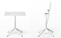 Table bistrot contemporaine / en aluminium / rectangulaire / ronde