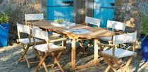 Table contemporaine / en teck / rectangulaire / de jardin
