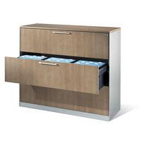 Armoire de classement basse / en bois / en acier / à tiroirs