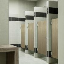 Cabine de douche en HPL / pour sanitaire public / rectangulaire / avec porte battante