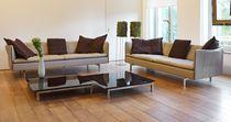 Canapé contemporain / en cuir / en tissu / 3 places