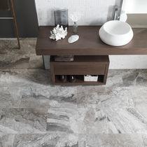 Plaque de pierre en marbre / polie / pour agencement intérieur / grise