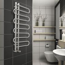 Sèche-serviettes à eau chaude / en acier / chromé / design