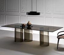 Table à manger contemporaine / en verre / en verre bombé / rectangulaire