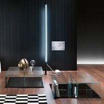 Table basse contemporaine / en verre / en verre bombé / carrée