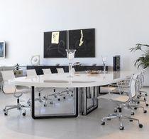 Table de conférence contemporaine / en bois / ovale / modulable