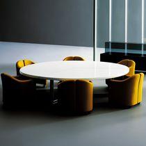 Table de réunion contemporaine / en bois / ronde / modulable