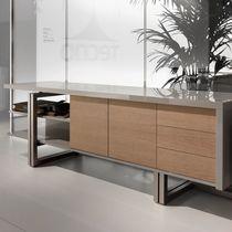 Armoire de classement basse / en chêne / en aluminium / à tiroirs
