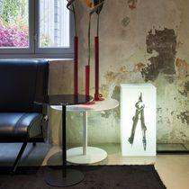 Guéridon contemporain / en verre / en stratifié / rond