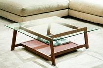 Table basse / contemporaine / en frêne / en verre