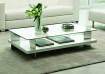 Table basse / contemporaine / en aluminium / en verre
