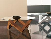 Table basse contemporaine / en verre / en chêne / ronde