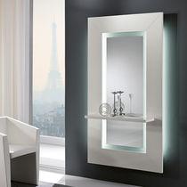 Miroir mural / avec étagère / lumineux / contemporain