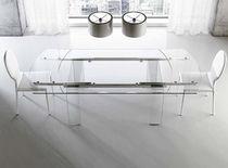 Table contemporaine / en verre / en aluminium / rectangulaire