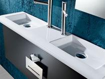Lave-mains à poser / rectangulaire / en céramique