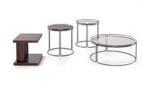 Table basse contemporaine / en bois / en verre / ronde