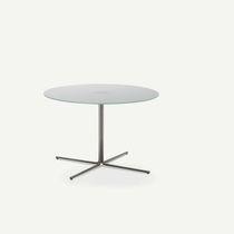 Table basse contemporaine / en verre / en bois / ronde