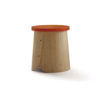 Table d'appoint contemporaine / en bois / en châtaignier / ronde
